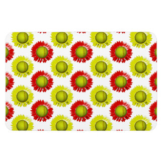 Red and Yellow Softball Flower Pattern Rectangular Photo Magnet