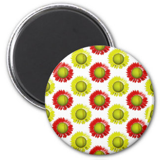 Red and Yellow Softball Flower Pattern 6 Cm Round Magnet