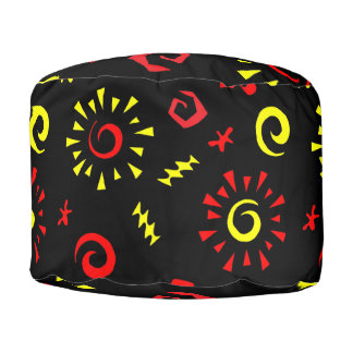 Red and Yellow Spirals and Suns Pouf