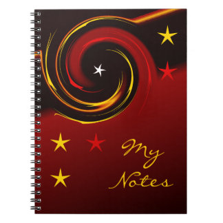 Red and Yellow Stars Spiral Note Books