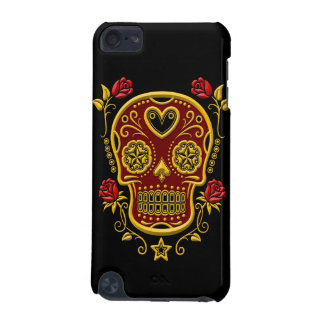 Red and Yellow Sugar Skull with Roses on Black iPod Touch 5G Covers