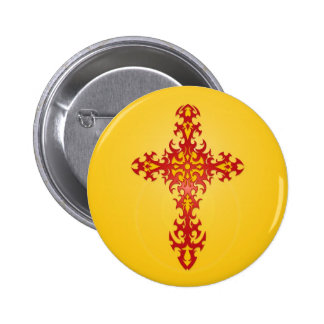Red and Yellow Tribal Gothic Cross Pinback Buttons