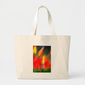 Red and Yellow Tulip Glow Large Tote Bag