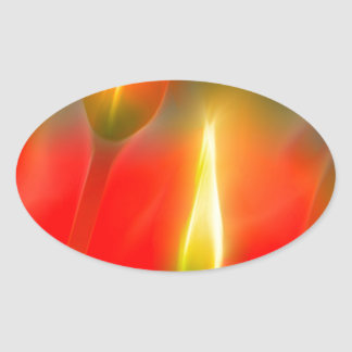 Red and Yellow Tulip Glow Oval Sticker