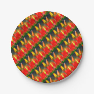 Red and Yellow Tulip Glow Paper Plate