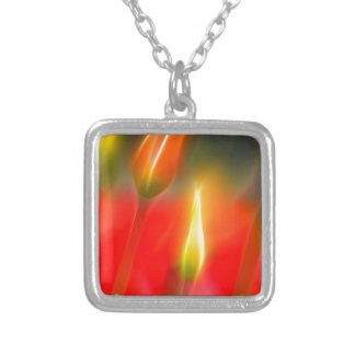 Red and Yellow Tulip Glow Silver Plated Necklace