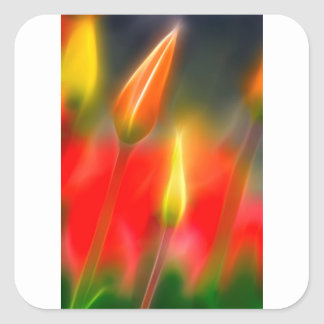 Red and Yellow Tulip Glow Square Sticker