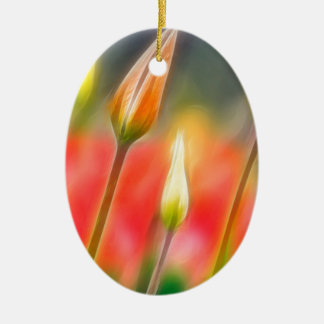Red and Yellow Tulip Sketch Ceramic Ornament