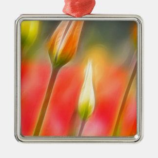 Red and Yellow Tulip Sketch Metal Ornament