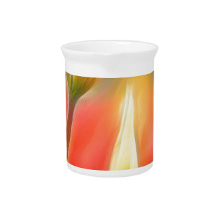 Red and Yellow Tulip Sketch Pitcher