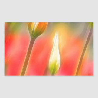 Red and Yellow Tulip Sketch Rectangular Sticker