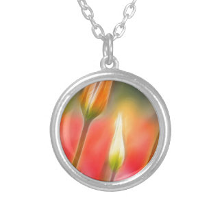 Red and Yellow Tulip Sketch Silver Plated Necklace