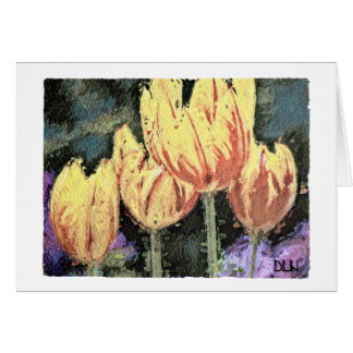 Red and Yellow Tulips/ Floral/Watercolor Look Card