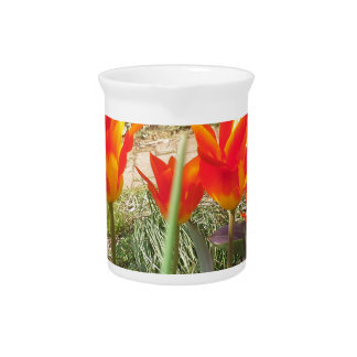 Red and Yellow Tulips Pitcher