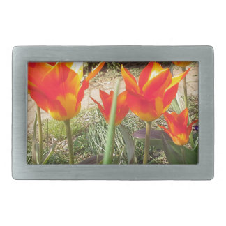 Red and Yellow Tulips Rectangular Belt Buckle