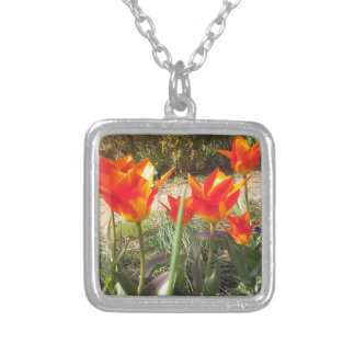 Red and Yellow Tulips Silver Plated Necklace