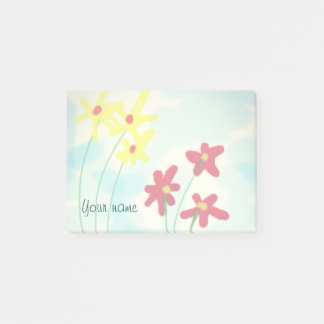 Red and Yellow Watercolor Flowers add Your name Post-it Notes