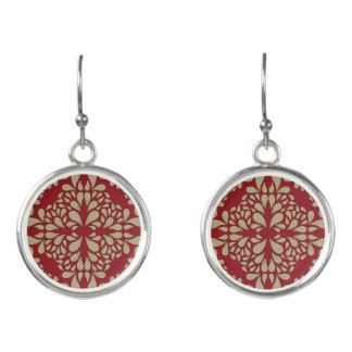 Red and yelow damask patterned earrings