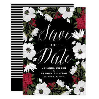 Red Anemone Blooms Save the Date Announcement