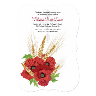 Red Anemones and Wheat Invitation