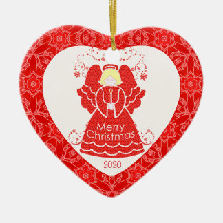 Red Angel Christmas Heart Ceramic Heart Decoration