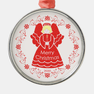 Red Angel Christmas Silver-Colored Round Decoration