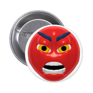 red angry smiley 6 cm round badge