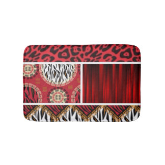 Red Animal Print and Patterns Collage Bath Mat