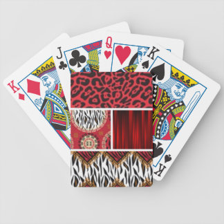 Red Animal Print and Patterns Collage Bicycle Playing Cards