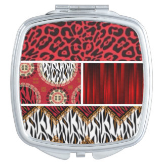 Red Animal Print and Patterns Collage Compact Mirrors