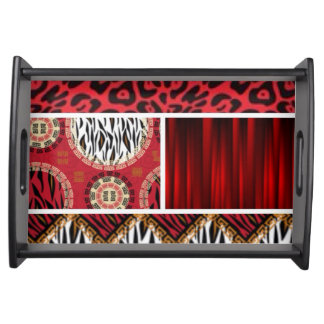 Red Animal Print and Patterns Collage Serving Tray