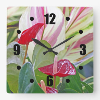 RED ANTHURIUM PLANT/PINK,CREAM, RED AND GREEN LEAV WALL CLOCKS