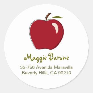 Red Apple Address Labels Round Sticker