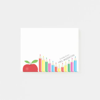 Red Apple and Colored Pencils Teacher Personalized Post-it Notes
