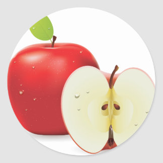Red apple and half of apple classic round sticker