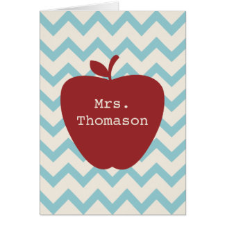 Red Apple Aqua Chevron Teacher Notecard Note Card