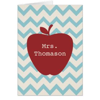 Red Apple Aqua Chevron Teacher Notecard Note Card