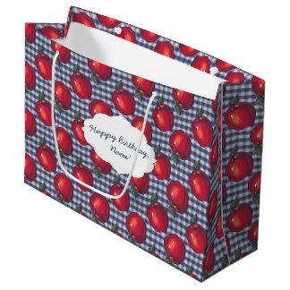 Red Apple Blue Plaid Large Gift Bag
