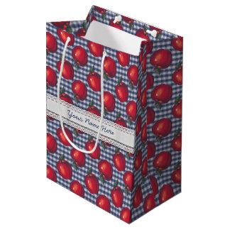 Red Apple Blue Plaid Medium Gift Bag