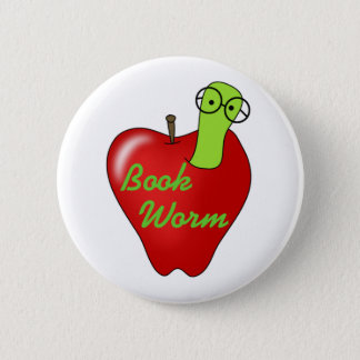 Red Apple Book  Worm 6 Cm Round Badge