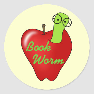 Red Apple Book  Worm Tshirts and Gifts Round Sticker