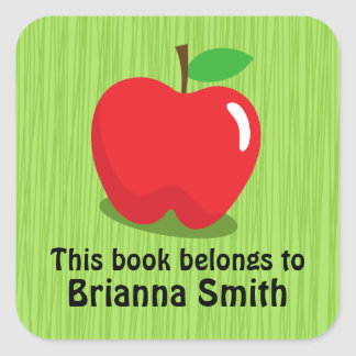 Red apple bookplate book label / tag for kids