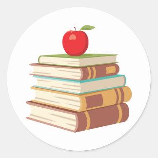 Red Apple & Books Round Sticker