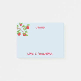 Red Apple Branches Life is Beautiful Post-it Notes