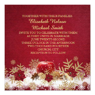 Red Apple Christmas Gold Snowflakes Wedding Invite