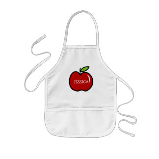 Red apple cooking apron for kids | Personalize