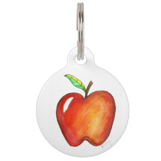 Red Apple Fruit Personalized Dog Pet Tag
