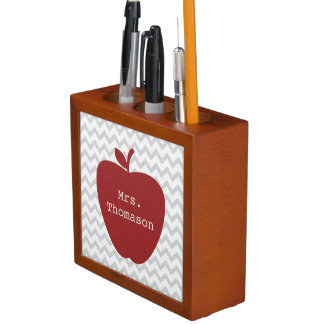 Red Apple Gray Chevron Teacher Desk Organizer Pencil/Pen Holder