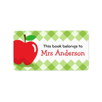 Red apple green gingham bookplate book label