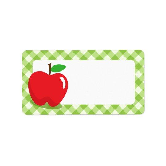 Red apple green gingham pattern border blank address label
